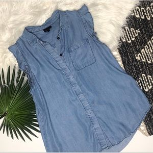 [Who What Wear] Ruffle Sleeve Denim Tank
